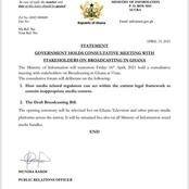Information Ministry Update:Government To Hold Meeting With Stakeholders On Broadcasting In Ghana