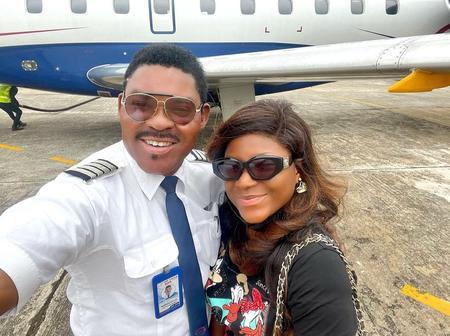 Reactions as Destiny Etiko stuns in lovely photos with Omotola's husband, Captain Ekeinde