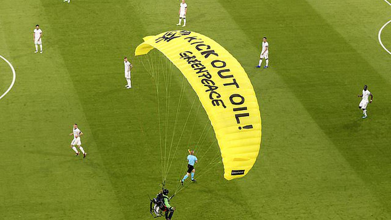 Two spectators are hospitalised with head injuries in botched Greenpeace stunt horror at France-Germany game as paraglider protesting against VW hits spidercam wires and hurtles into stands