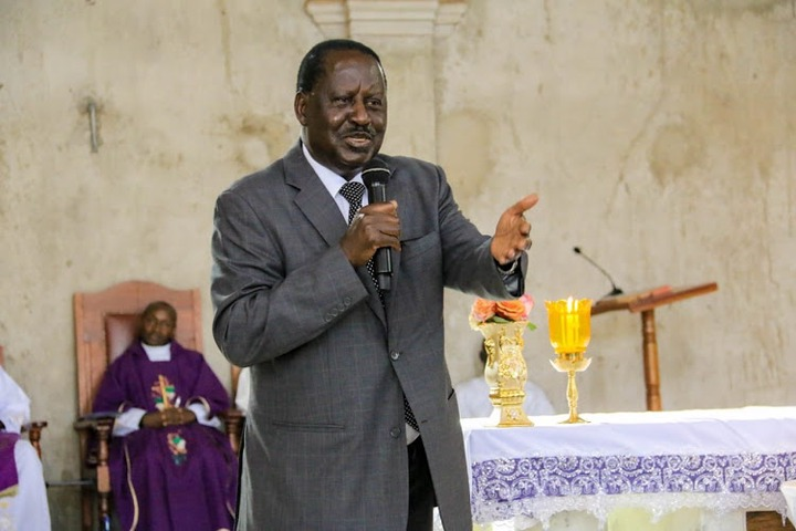 ODM leader Raila Odinga during a funeral service in Muran'a County on February 24, 2020.