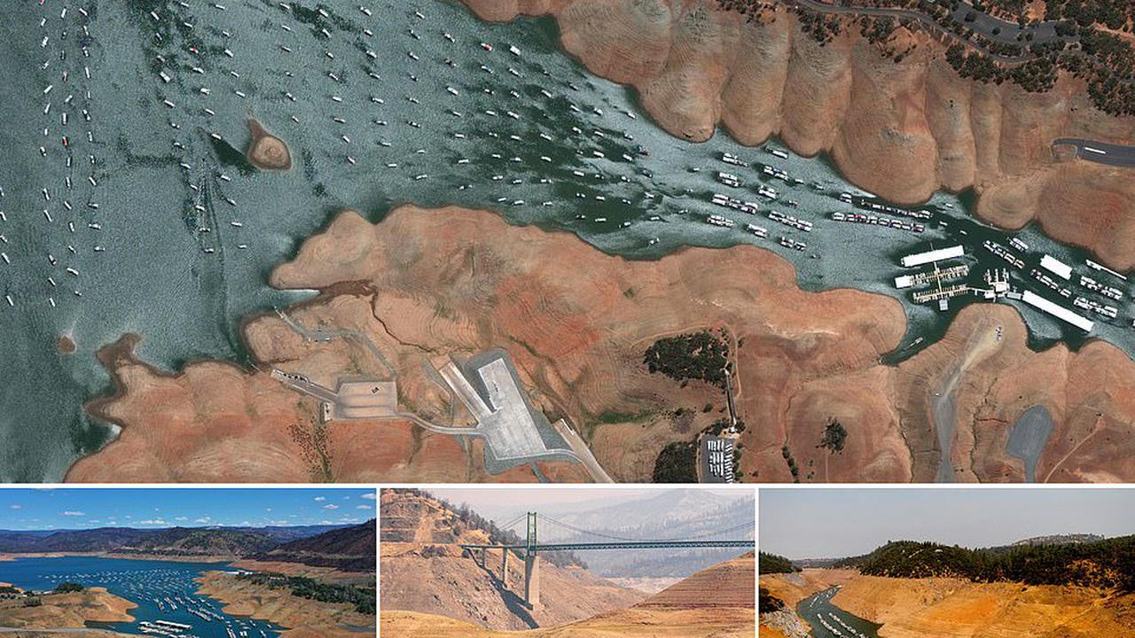 The decimation of Lake Oroville: Houseboats crowd in a trickle of water after California drought reduces the reservoir levels to an 'historic low' of 24% capacity - Opera News