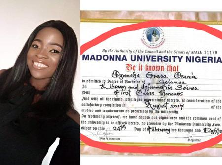 Lady who graduated with First Class from Madonna University shares the secret behind her success