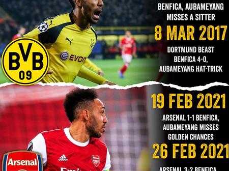 Aubameyang's History Against Benfica Repeats Its Self In European Competition