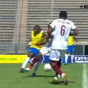 Was Thabo Matlaba supposed to receive a red card in a today's game, after his tackle on Malukeka?