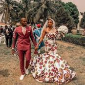 Bride rocks beautiful Ankara Atire for her wedding, rather than the western white-colored gown.