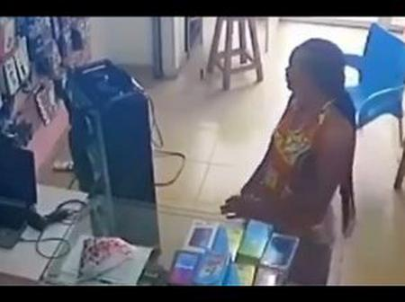 Lady Pretended To Be Laughing With A Sales Girl Then Stole A Phone On Her Desk (video)
