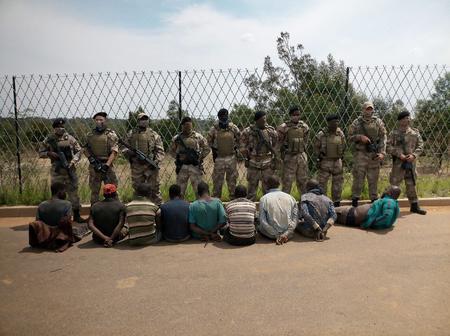 Nine illegal miners arrested by bluehawktactic1 near Purtfontein area Benoni