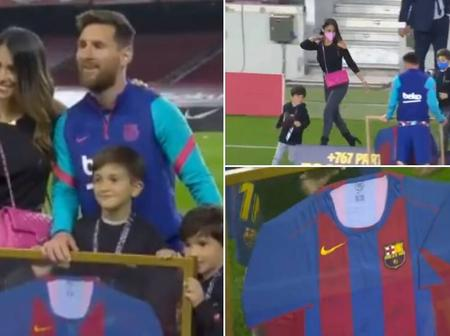 Checkout What Messi's Family Did In Tribute To Messi Before The Match Against Valladolid