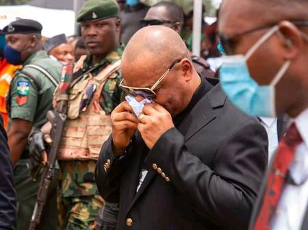 PHOTOS: Governor Emmanuel Broke Down In Tears As He Bid Farewell To Party Chairman, Udo Ekpenyong