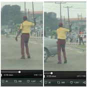 LASTMA Officer Sparks Reactions On Twitter After He Was Spotted Dancing On The Road