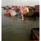 Tragedy As Containers Falls Into Apapa River In Lagos State (Video).