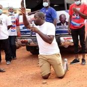 Picture of NPP executive kneeling and campaigning has got people talking