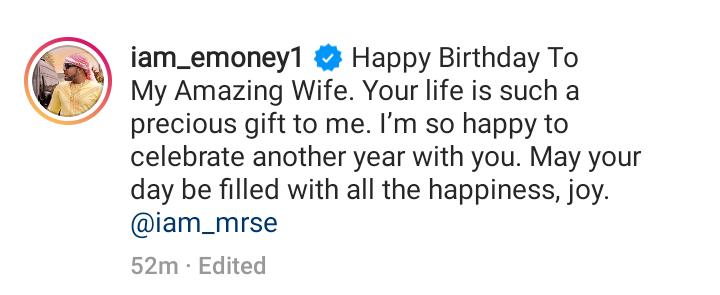 E-money celebrates his wife on her birthday, calls her 'amazing wife' 17