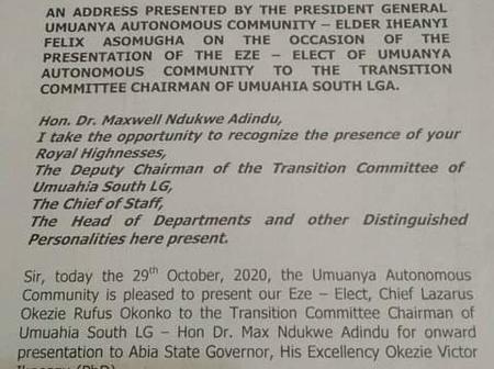 Umuanya Autonomous Community Presents Their Eze-Elect to Umuahia South Council Boss.