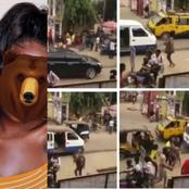 See the picture of the beautiful lady that ran mad after thrown out of a car