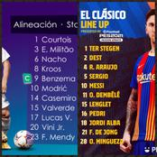 OFFICIAL : Starting line up for Barcelona and Real Madrid for the El Clasico
