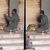 Video: See What A Homeless Man Does Every Morning In Front Of Someone's Shop Before Going To Hustle