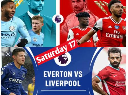 Everton host Liverpool and Manchester City Host Arsenal on Saturday October 17,2020.