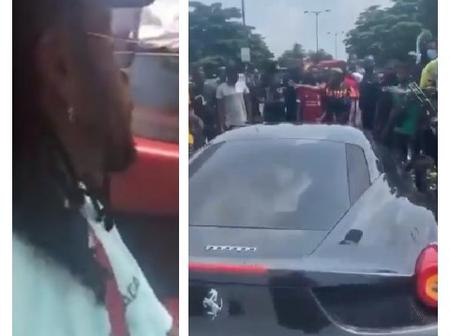 After Burna Boy Was Mobbed By His Fans In A Video, Watch What He Had To Do Before He Left The Place