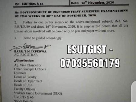 Esut Memorandum Emphasising On Their Examination.