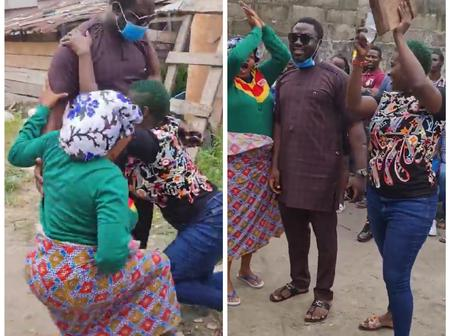 Mercy Johnson Shares Video of How She and Toyin Abraham Knelt Down To Her Husband Prince Okojie