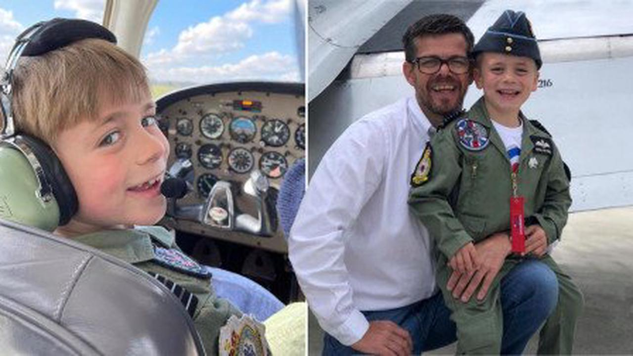 Dad conquers fear of flying to help son, 7, realise dream of becoming pilot