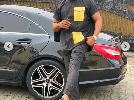 Actor, Bolanle Nina-lowo Flaunt New Outfits With His Multi-million Exotic Mercedes Benz Car (Photos)