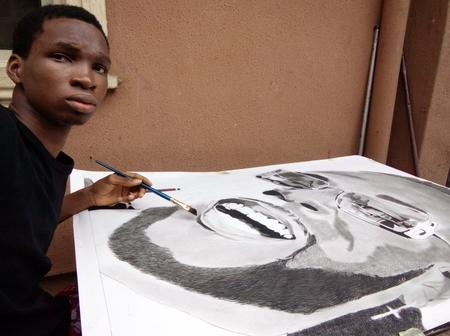 Boy spends over 85 hours to draw this picture of popular Nigerian singer Burna Boy (photos)