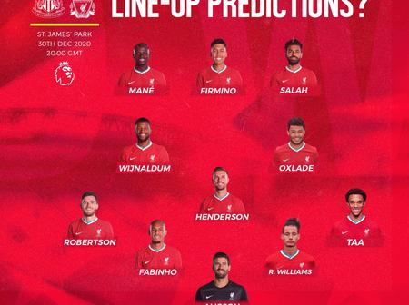 Liverpool's Strongest 4:3:3 Line Up Against Manchester United. Salah And Mane To Start