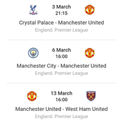 Manchester United's Next 3 Premier League Fixtures In This Month