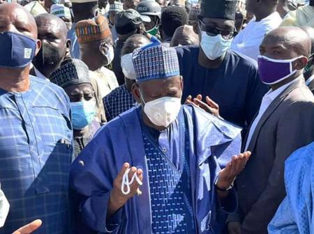 10 Photos: Governor Abdullahi Ganduje Attends Funeral Prayer of his supporter, Late Alhaji Aduduwa.