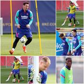 Messi leads Barcelona stars for the final training session before tomorrow's kings cup final
