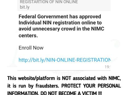 BEWARE OF FRAUDSTERS: NIMC Warns Nigerians Against The Circulating Fake Site For NIN Registration