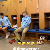 Photos: See Timo Werner facial expression after Ben Chilwell speaks German to him.