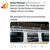 Kenyans React After Commuter Train Serving Embakasi Residents on Friday Was Cancelled
