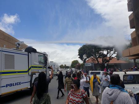 Check police fires canon water on disabled people in Western Cape
