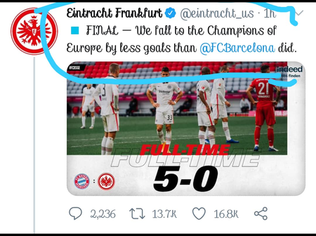After Losing 5:0 To Bayern Munich, See How Frankfurt Dragged Barcelona That Got People Talking.
