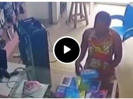 Reactions Pour In As CCTV Catches A Lady Stealing A Phone
