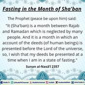 Fasting in the month of Shabaan