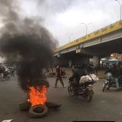 Photos Of BodaBoda Rider's Blocking And Burning Tyres On Thika Superhighway At Githurai 45.