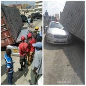 Deadly Accident After a Heavy Container Fell On a Personal Vehicle In Mombasa