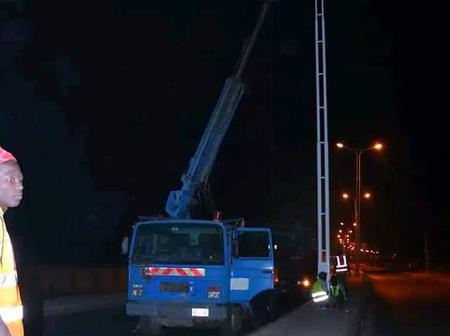 Check out how street lights are being Installed at night in Bauchi State [Photos]