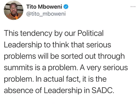 There is crisis in SADC, SADC is not doing its work