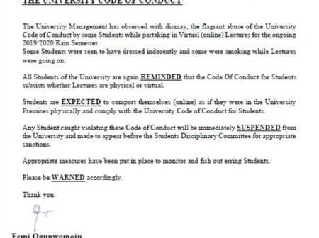 Olabisi Onabanjo University Issued A Notice Concerning The Online Lectures.