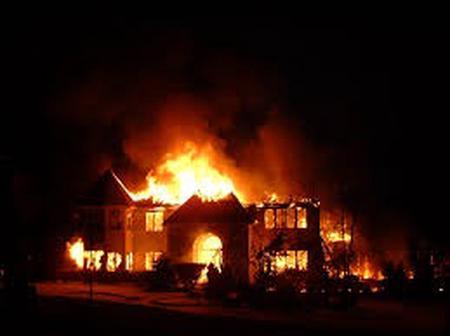 A House Burns Down in Gekarange Village