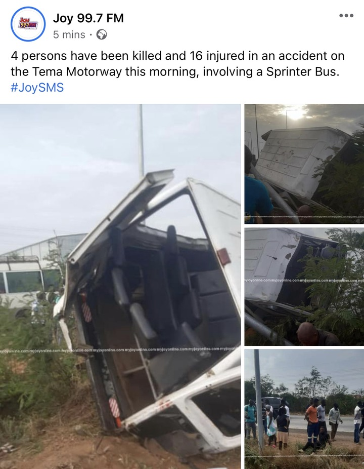d3a9dbb7ac8343b189c9c91684b260c6?quality=uhq&resize=720 - 4 Persons Feared Dead And 16 Injured In A Gory Accident On The Accra To Tema Motorway At Dawn