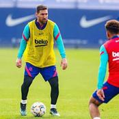 UCL: See Photos Of Messi And Other Barcelona Players As They Train Skillfully Ahead Of PSG Clash