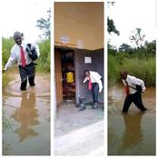 A Dedicated Lecturer trekked passed an eroded path to school to deliver his lecture (pictures)