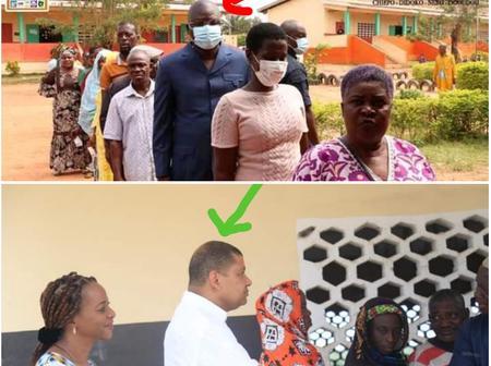 Vote à Divo et à Dabakala : quand  Amédé Kouakou et Jean L.Billon se mettent en rang pour voter.