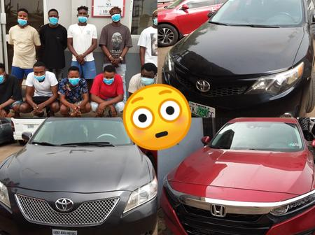 The 10 suspected Yahoo boys that were arrested yesterday, See the 8 exotic cars that were recovered